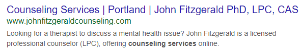 Google search result for local therapist