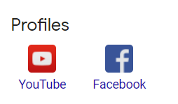 Social profiles listed in a Google My Business profile.