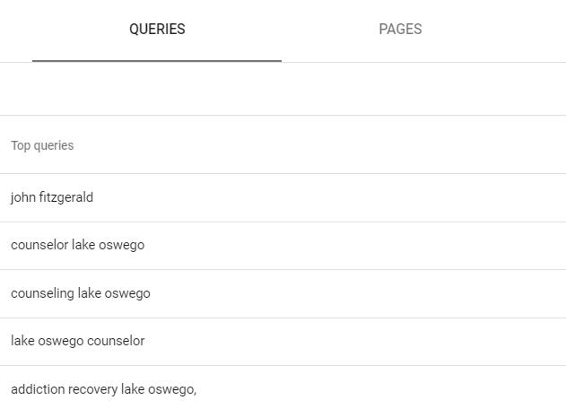 Google search console data for therapist